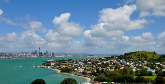 Auckland central from Devenport side of the city