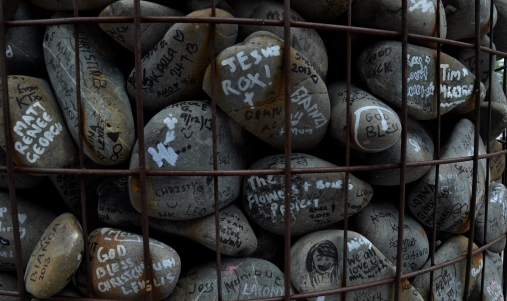 little pebbles with names of victims